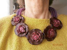 STILIZZATA bordeaux. 5 fiori applicati su base filo di cotone con anima di alluminio di PaTrieste su Etsy