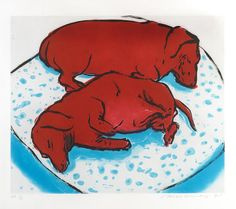 David Hockney, 'Horizontal Dogs' Etching and aquatint printed in colours, 1995.