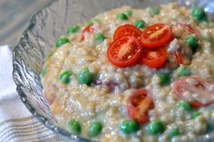 Parmesan Oat Risotto with Peas & Tomatoes recipe: healthy risotto recipe featuring steel cut oats #vegetarian