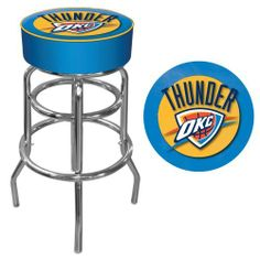 NBA Oklahoma City Thunder Padded Swivel Bar Stool by Trademark Global. $95.88. Product Features:      Officially Licensed Art     Reverse Printed on Commercial Plastic to Protect Logo from Wear. Overall Dimensions: 20 x 20 x 31 inches. Luxurious Foam Padding .25 inch Vinyl Beading Marrying the Top and Side for Added Strength. Seat Dimensions: 14 x 14 x 5 inches. Marine Grade Vinyl Sides Chrome Plated Double Rung Base. This officially licensed chrome bar stool will pr...