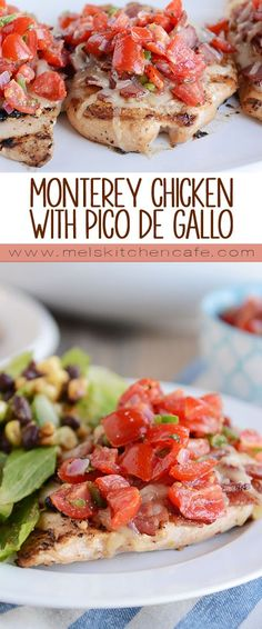 The flavors in this Monterey chicken {a Chili's copycat recipe} are out of this world delicious! Tender grilled chicken, topped with bacon, cheese and a simple homemade pico de gallo. Yum! (Grilled Chicken Tenders)