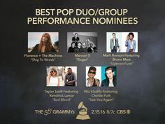 Congrats #GRAMMYs Best Pop Duo/Group Performance nominees! Florence + The Machine, Maroon 5, Mark Ronson feat Bruno Mars, Taylor Swift feat Kendrick Lamar, Wiz Khalifa feat Charlie Puth