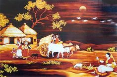 Daily Chores of Village People - People Posters (Reprint on Paper - Unframed) Village Scene Drawing, Art Village, Indian Village, Village Photos, Coffee Painting Canvas, Cow Painting, Easy Scenery Drawing, Rajasthani Painting, Evans Art