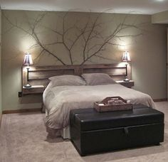Love, love, love this headboard!! Can even make drawers on each side!! Replace the branches with a mantel...