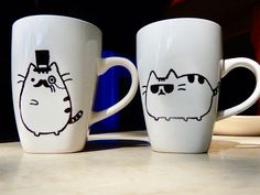 Pusheen sharpie mugs