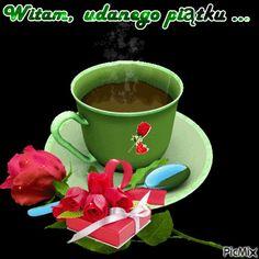 Good Morning Coffee, Good Morning Gif, Happy Weekend Quotes, Joelle, Chocolate Coffee, Coffee Love, Beautiful Roses, Good Night, Tea Cups