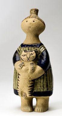 Lisa Larsson. Stina med katt. Gustavsberg, 1958