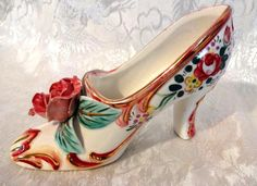 GORGEOUS Antique Vintage HAND PAINTED Porcelain Shoe Glass Slipper Made in Japan