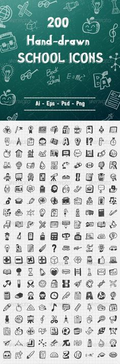 200 Hand Drawn School Icons