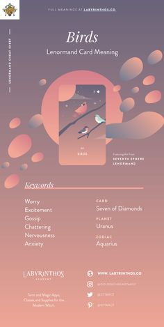 Birds - Lenormand cards meanings cheat sheet for learning how to use lenormand decks for divination. An alternative to tarot for witches, mystics, and cartomancy.