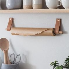 My Future Kitchen Renovation Ideas - oak and leather kitchen roll holder Vintage Regal, Küchen Design, Interior Design, Kitchen Accessories, Tea Towels, Cool Kitchens, Cupboard, Diy Furniture, Kitchen Decor