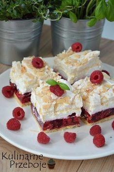Malinowa chmurka przepis na ciasto - KulinarnePrzeboje. Dessert Drinks, Dessert For Dinner, Dessert Bars, Jello Recipes, Cookie Recipes, Dessert Recipes, Good Food, Yummy Food, Polish Recipes