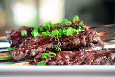 smashed steak skewers with cherry bbq sauce from nom nom paleo// this might be an awesome potluck item Paleo Recipes Easy, Indian Food Recipes, Beef Recipes, Real Food Recipes, Cooking Recipes, Recipies, Paleo Bbq Sauce, Barbeque Sauce, Bbq Flank Steak