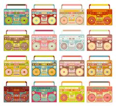 Boombox Ghetto Blaster Digital Clip Art Clipart Set - Personal and Commercial Use