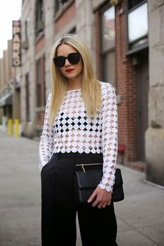 Alexis White Chic Polka Dot Crochet Blouse