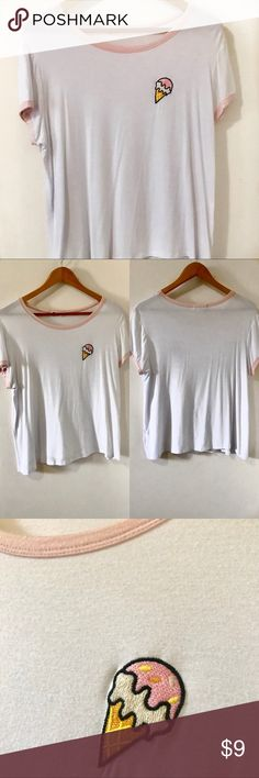 Graphic Ice Cream Tee This shirt is simple and cute, perfect for those sunny days  I mean, who doesn't love ice cream??  I've only worn this once and I took great care of it!   Product details:  - 100% Cotton  - Shirt is a bit sheer  ❣️ I'm open to reasonable offers ❣️ Forever 21 Tops Tees - Short Sleeve