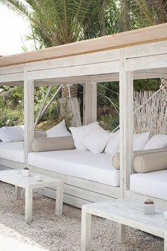 Outdoor daybed at Atzaro Beach in Ibiza. Outdoor Daybed, Outdoor Lounge, Outdoor Seating, Outdoor Rooms, Outdoor Living, Outdoor Furniture, Outdoor Decor, Outdoor Cabana, Pool Cabana
