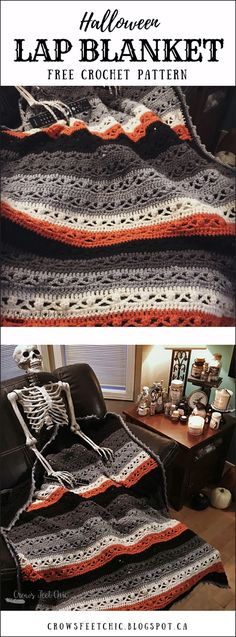 Super easy Crochet Halloween Blanket - Free Pattern!