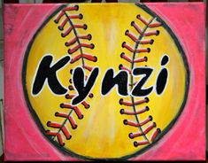 SOFTBALL or BASEBALL Painting Personalized with by CnTCreations
