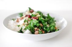 Rice with cumin, beans and kale