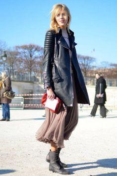Rough yet feminine assemble...- Street Chic - Paris Fashion Week - Discover More Street Style - ELLE