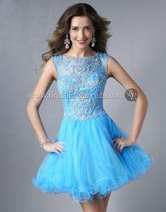 Caribbean Blue Short Dress w/Tulle Skirt #221141 | $381.00