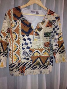 Chico's CHICO ABSTRACT AZTEC TRIBAL PRINT BLOUSE MULTI 1 3 4 EUC! SZ 2 BUST 41 #Chicos #Blouse