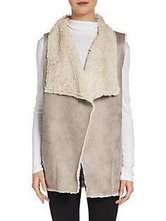 Saks Fifth Avenue BLUE - Faux Shearling Open Vest