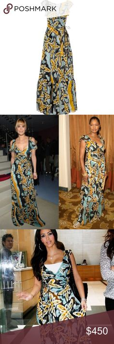 Diane Von Furstenberg DVF Maupiti Fiji Maxi Dress Light silk chiffon, this runway piece is the perfect summer dress. Wear around the town by day then with metallic flats and gold bangles for a relaxed evening look. Multicolored Fiji Flower print silk chiffon long maxi wrap dress with vented cap sleeves. Diane Von Furstenberg dress has a self-tie fastening at waist, a V-neck and a ruffle hem. ASO many celebrity's including: Olivia Palermo, Kim Kardashian, Molly Sims & Garcelle Beauvais…