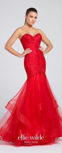 Prom Dresses 2017 - Ellie Wilde for Mon Cheri -  red strapless lace and tulle prom dress - Style No. EW117097