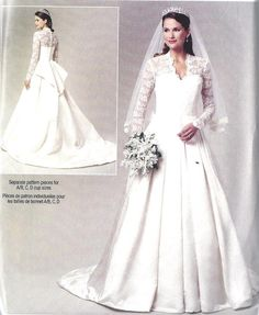 Wedding Dress Gown Plus Size Sewing Pattern, Kate Middleton, Princess Catherine, New Release Butterick Pattern BP249 Sizes,14, 16, 18, 20