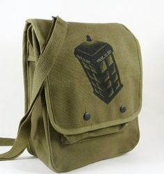 6d2dca076c28 tardis messenger bag military doctor who fathers day gift #RaggedyFan Bőr  Hátizsák