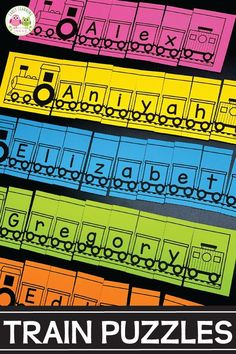 How to Easily Customize Train Name Puzzles - Are you looking for fun name activities for your literacy centers? These train name puzzles are per - Polar Express Activities, Transportation Preschool Activities, Transportation Unit, Train Activities, Letter Activities, Motor Activities, Summer Activities, Family Activities, Preschool Names