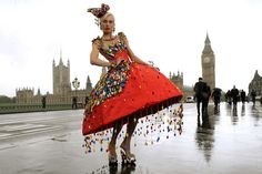 Aspen Glen-Cross poses in a dress adorned with around 5000 LEGO bricks designed by Central Saint Martins College of Art and Design student, ...