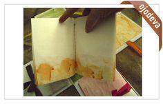 """Encuadernación con cosido al lomo e interior pintado con papel al engrudo (con metilcelulosa). Ejemplo del curso online de """"Encuadernaciones originales, raras y curiosas""""."""