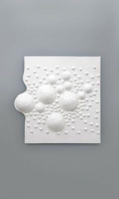 Handmade 3D ceramic tile, part of unique composition. Grzeskiewicz Design Studio