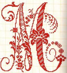 Abecedarios punto de cruz - Letras grandes muy elegantes M