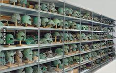 "museum-of-artifacts: "" Ancient Greek Helmets, Classical Period, From Olympia Museum Store Room "" Classical Greece, Classical Period, Greek History, Ancient History, History Guy, History Pics, Sea Peoples, Greek Helmet, Corinthian Helmet"