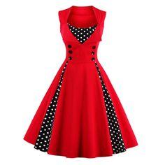 Midi Polka Dot Prom Dress - Red