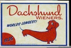 Dachshund hotdog wiener label magnet dog art by rubenacker on Etsy, $4.75