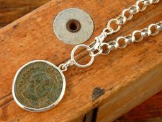 Sterling silver necklace with an antique Roman coin by anakim, $320.00