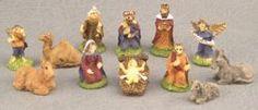 Nativity Figurine Set - This miniature Nativity Set is made of hand painted resin. Christmas Holidays, Christmas Decorations, Christmas Ornaments, Holiday Decor, Xmas, Dollhouse Supplies, Dollhouse Miniatures, The Birth Of Christ, Dollhouse Accessories