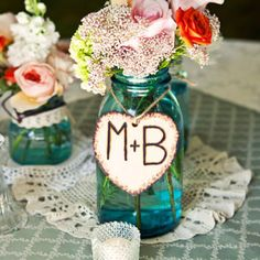 This would be cute for baby shower table center piece with baby's initials