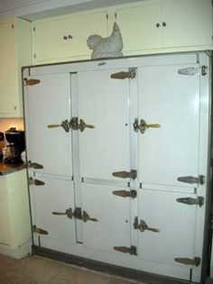 -1920s SEEGER six section refrigerator ice box with compressor- {Fabulous!}