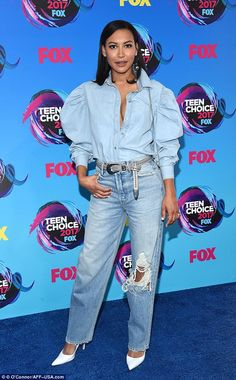 It's over: David was recently linked to Glee actress Naya Rivera, 30, after meeting each other on the set of Mad Families (pictured at the Teen Choice Awards on Sunday night)