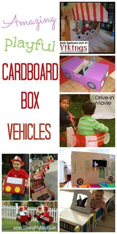 Amazing carsboard box cars, trucks, fire engine crafts - so cool!!