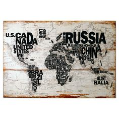 Wood wall art with a typographic world map.   Product: Wall art Construction Material: WoodColor: Blac...