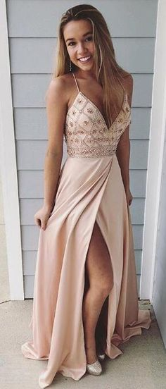 2018 straps peach long prom dress with side slit, elegant v neck beaded long prom dress party dress