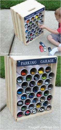 25 Wood Crate Upcycling Projects For Fabulous Home Decor - Organize and decorate your home using nothing but wood crates! Try making this great diy kids car parking garage today! decor diy kids 25 Wood Crate Upcycling Projects For Fabulous Home Decor Wooden Crates Crafts, Crate Crafts, Wood Crates, Wooden Boxes, Crate Decor, Wood Crate Diy, Kids Car Garage, Home Crafts, Diy And Crafts