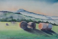 Water-colour of hay bails with the beautiful landscape here behind, and in the distance, the Bismantova rock.